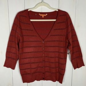 Modcloth Red/Shimmer Sz XL Button Down Sweater